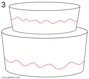 How to Draw a Birthday Cake Step 3