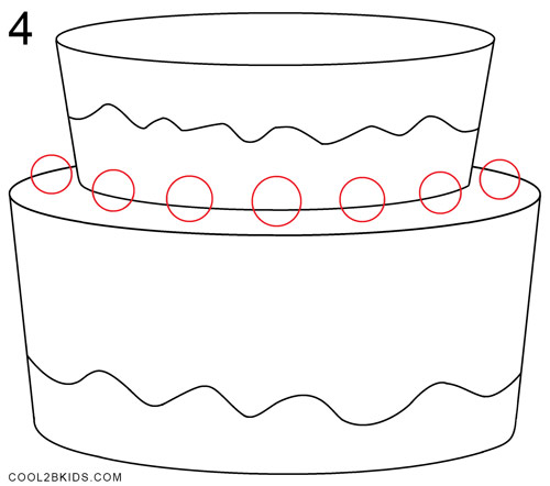 How To Draw A Birthday Cake Step 4