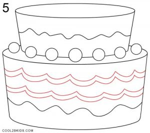 How to Draw a Birthday Cake Step 5