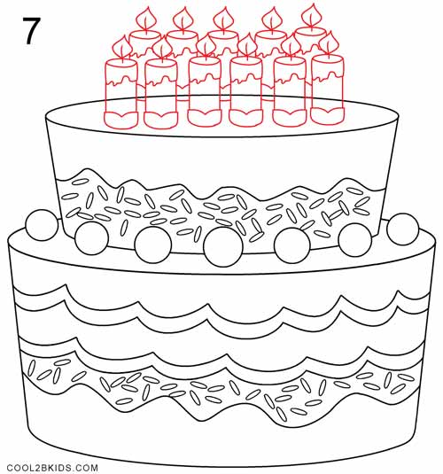 Marvelous How To Draw A Birthday Cake Step By Step Pictures Cool2Bkids Personalised Birthday Cards Paralily Jamesorg