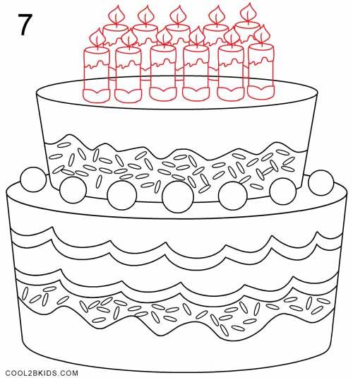 How To Draw A Birthday Cake Step 7