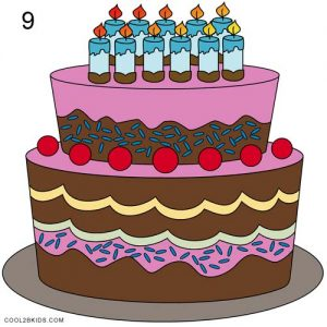 How to Draw a Birthday Cake Step 9