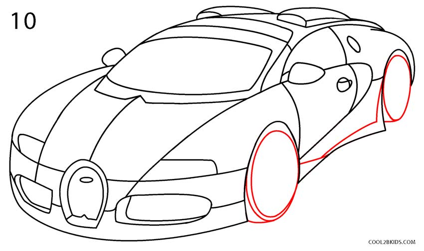 How To Draw A Bugatti (Step By Step Pictures) | Cool2bKids