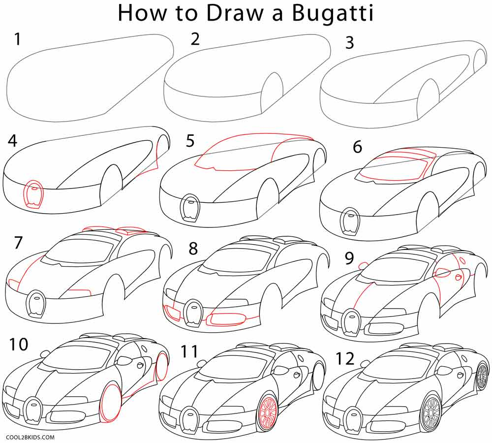 How to Draw a Bugatti Step by Step