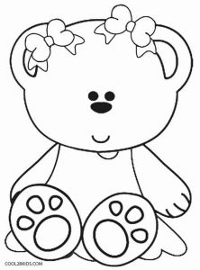 Girl Teddy Bear Coloring Pages