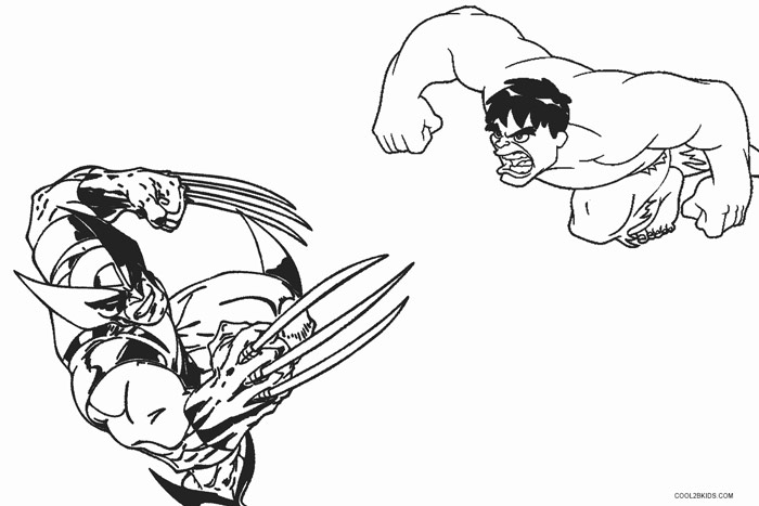Elegant Hulk Vs Wolverine Coloring Pages