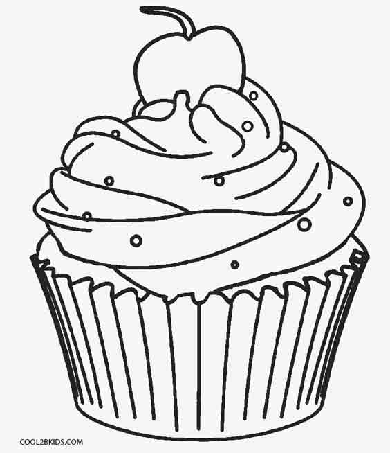 Curly Coloring Cupcakes Coloring Pages