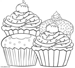 Cupcake Coloring Pages for Adults