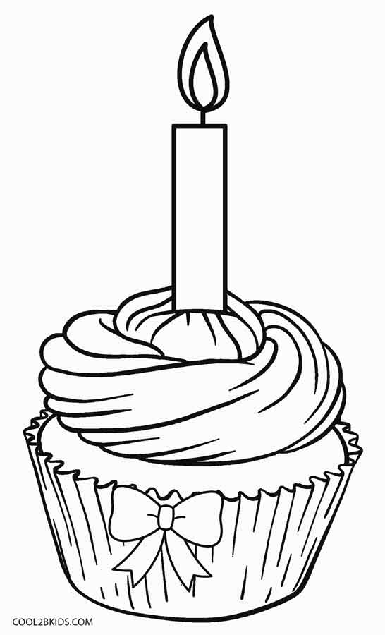 happy birthday cupcake coloring pages - Cupcake Coloring Pages