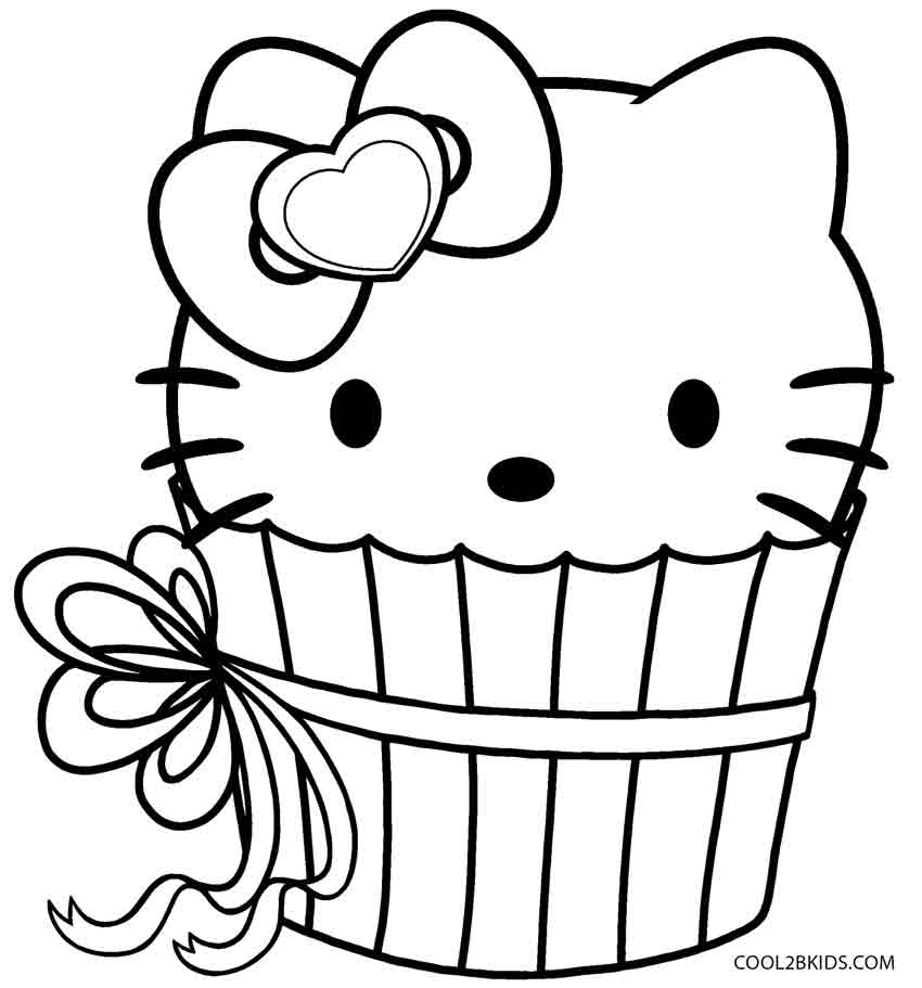Captivating Hello Kitty Cupcake Coloring Page