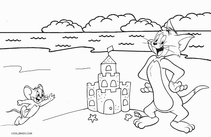 Tom and jerry beach coloring pages