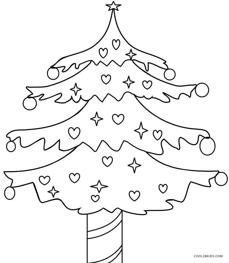 Printable Christmas Tree Coloring Pages For Kids