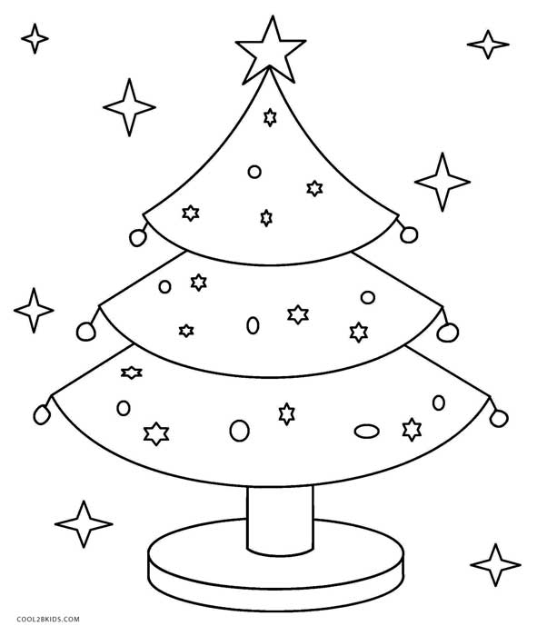 It is a picture of Printable Christmas Tree Coloring Pages for 4th grade