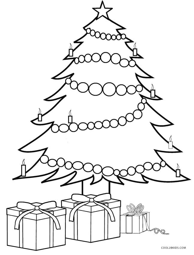 Printable christmas tree coloring pages for kids cool2bkids for Coloring pages of christmas presents