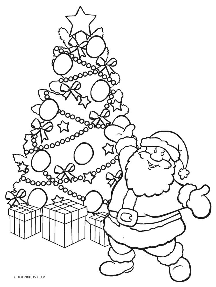 Christmas Coloring Pages Santa And Tree