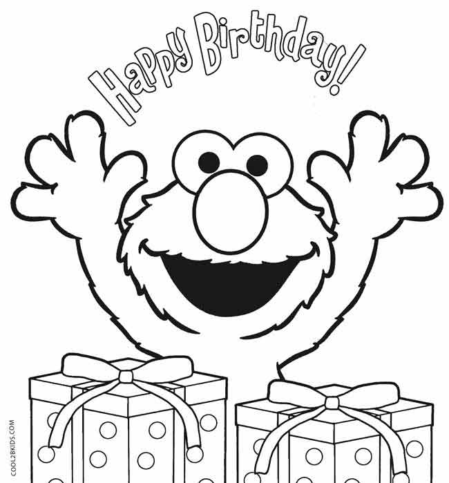 Elmo Birthday Coloring Pages