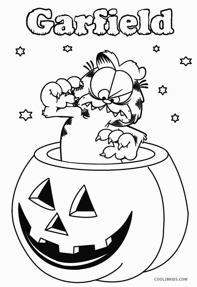 garfield halloween coloring pages