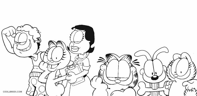 garfield and friends coloring pages