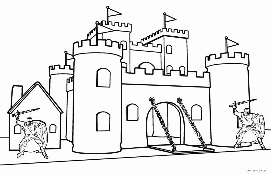 Castle And Knights Coloring Pages