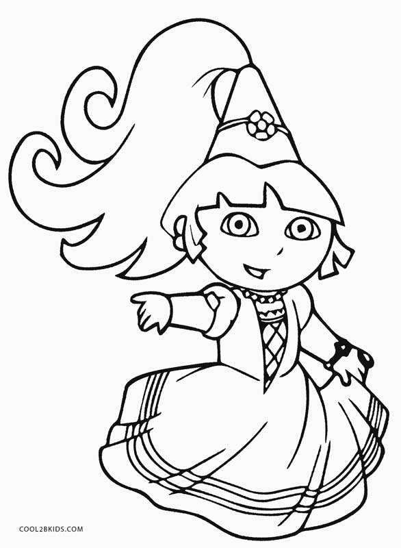 coloring pages dora princess - photo#3