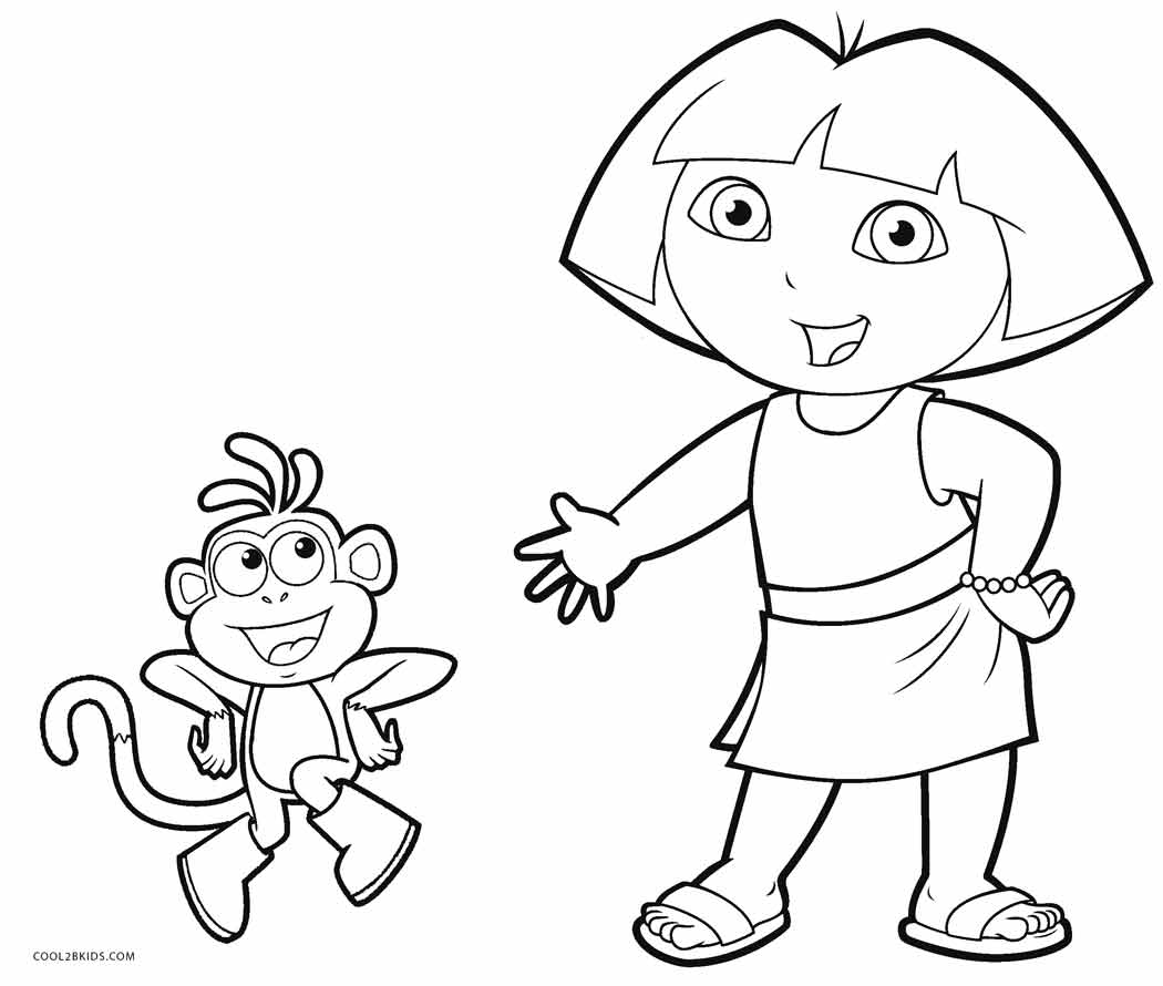 Coloring pages of dora and boots murderthestout for Dora the explorer coloring page