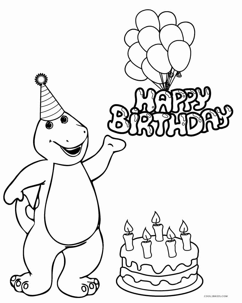 barney birthday coloring pages - Birthday Coloring Sheets
