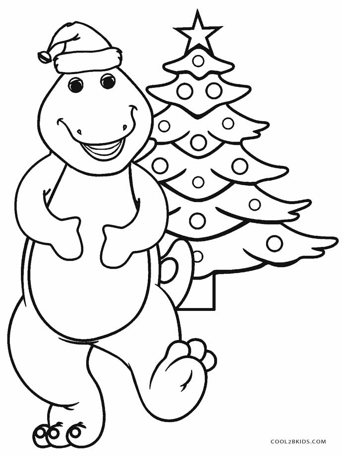 christmas barney coloring pages - photo#1