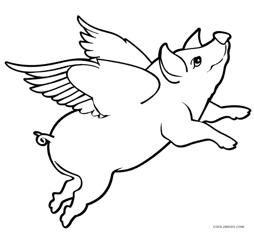flying pig coloring pages - Pig Coloring Pages