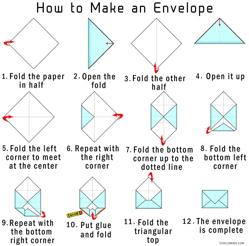 Use a regular envelop or a piece of paper to place under the the side triangles, so you don't get any glue on the inside of the envelope. 5. Glue along the edge of the side triangles. 6. Once you glue the sides, fold the bottom up and press it down to make sure it sticks. Then, fold the top down.