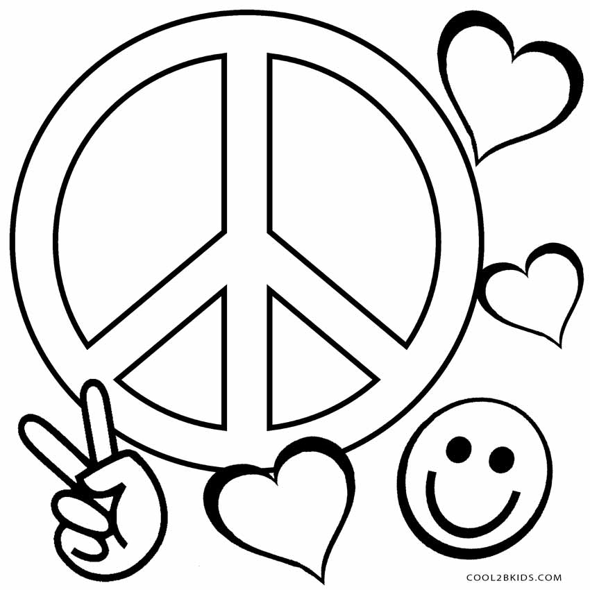 heart peace sign coloring pages - photo#13