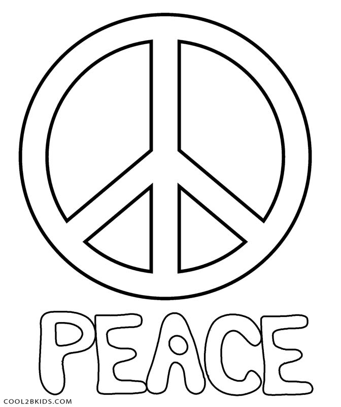 Peace Sign Coloring Pages Free