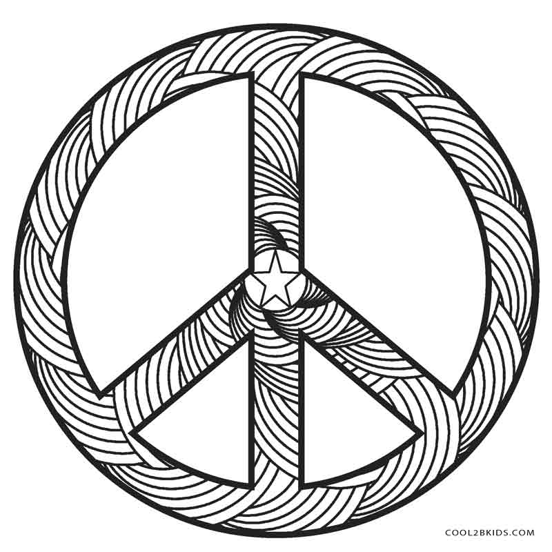coloring pages of a peace sign | Free Printable Peace Sign Coloring Pages | Cool2bKids