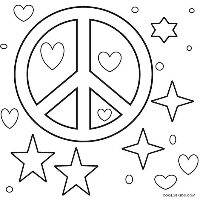 It's just a graphic of Effortless Peace Sign Coloring Page