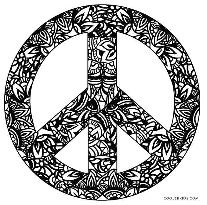 Zebra Peace Sign Coloring Pages Free Printable Peace S...