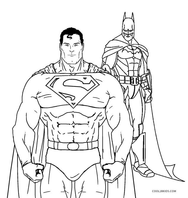 Superman And Batman Coloring Pages Free Printable For Kids Cool2bkids On