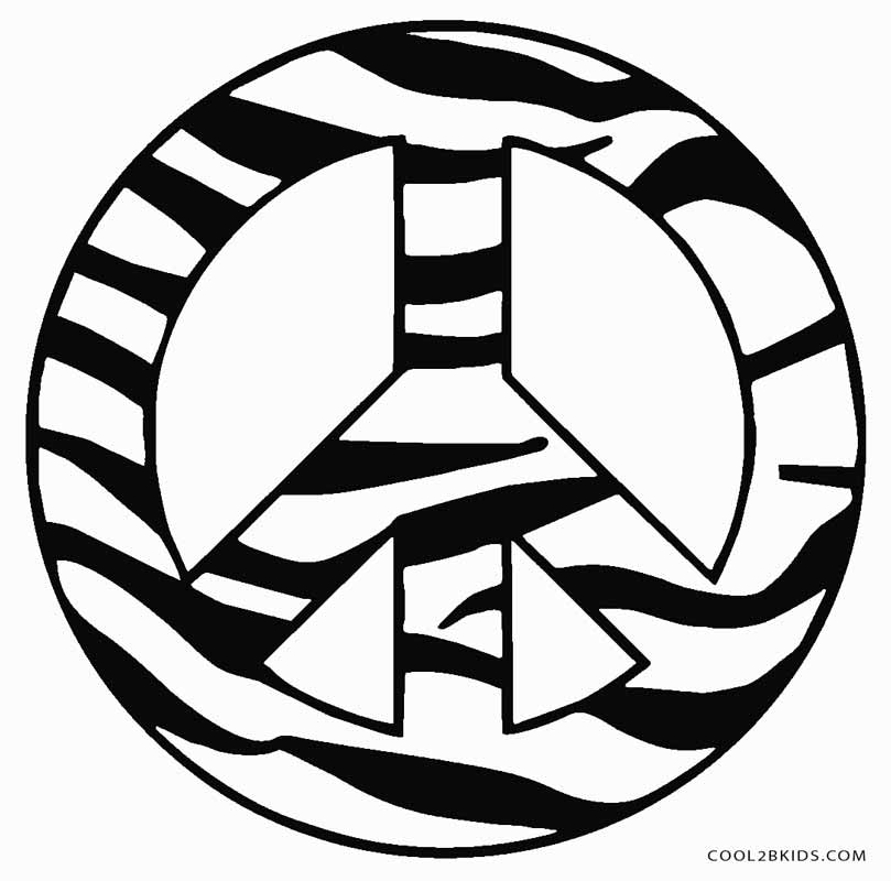 This is an image of Fan Peace Sign Coloring Page