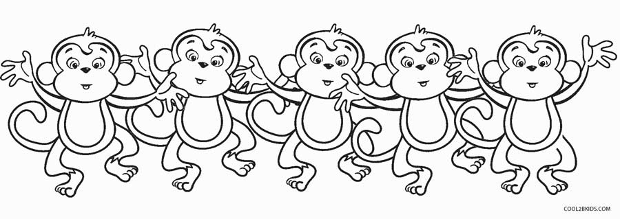 5 little monkeys coloring page - Coloring Pages Of Monkeys