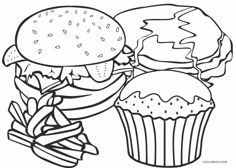 Food to coloring pages ~ Free Printable Food Coloring Pages For Kids | Cool2bKids