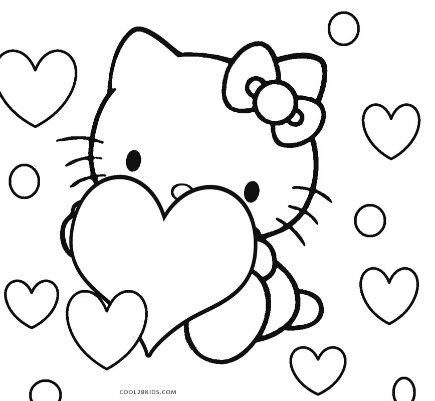 Hello Kitty With Balloons Coloring Pages : Click the hello kitty with heart balloons coloring pages
