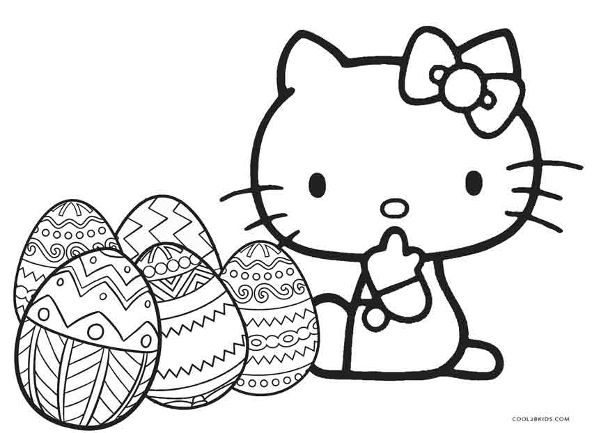 hello kitty coloring pages easter - Kitty Coloring Pages