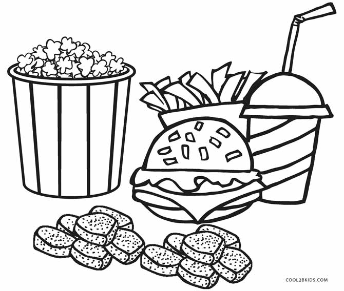 food coloring pages. Junk Food Coloring Pages Free Printable For Kids  Cool2bKids