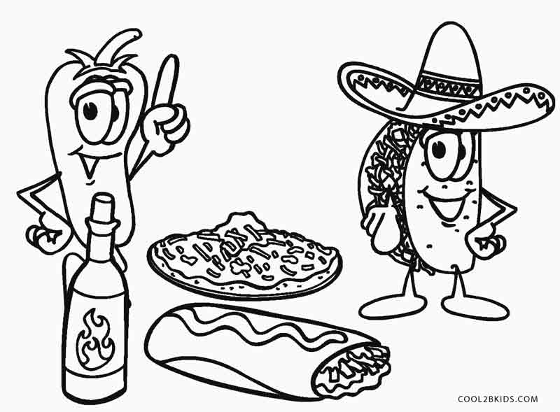 mexican food coloring pages - Food Coloring Pages