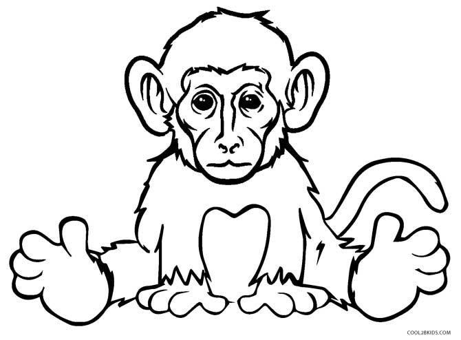 realistic monkey coloring pages - Monkey Coloring Page