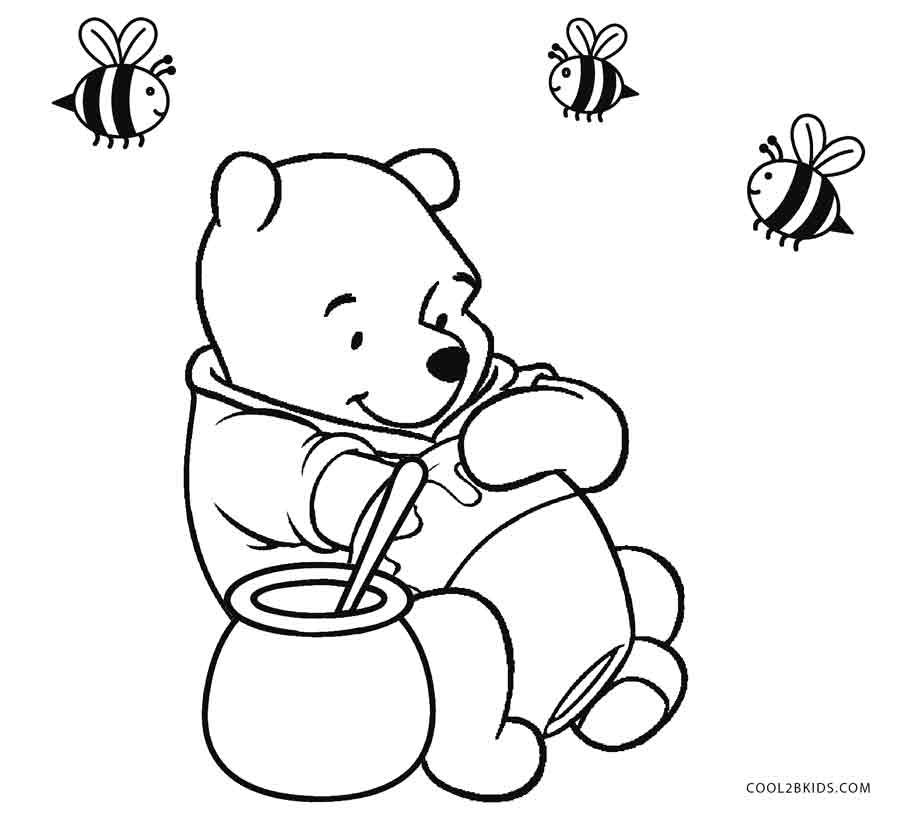 Winnie The Pooh With Honey Coloring Pages