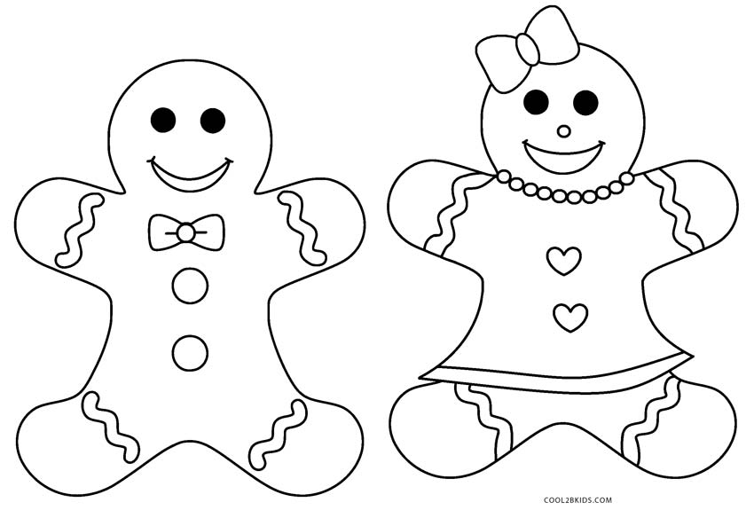 Gingerbread Boy And Girl Coloring Page