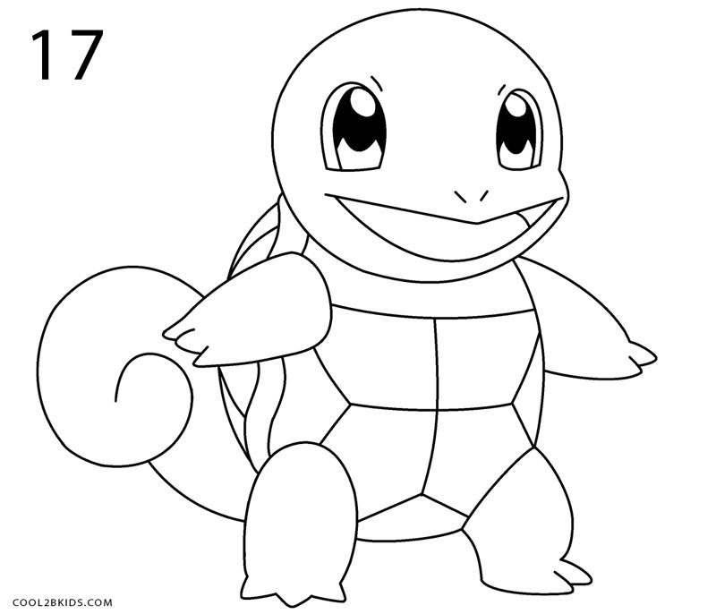 how to draw squirtle  step by step pictures