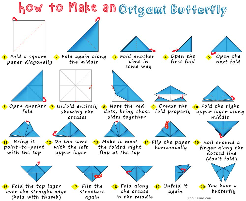 Easy Step By Folding Instructions For A Paper Butterfly