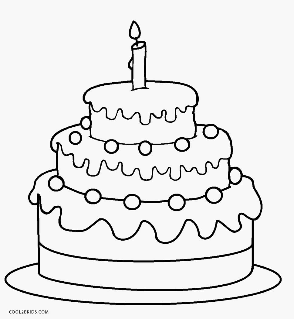 Coloring pages birthday cake - 1st Birthday Cake Coloring Page