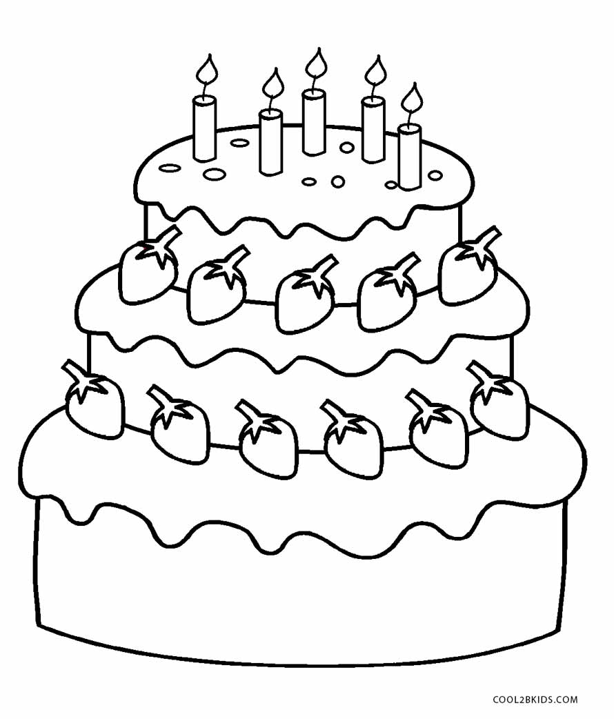 Colouring in birthday cake -  Coloring Birthday Cake Free Printable Birthday Cake Coloring Pages For Cool2bkids
