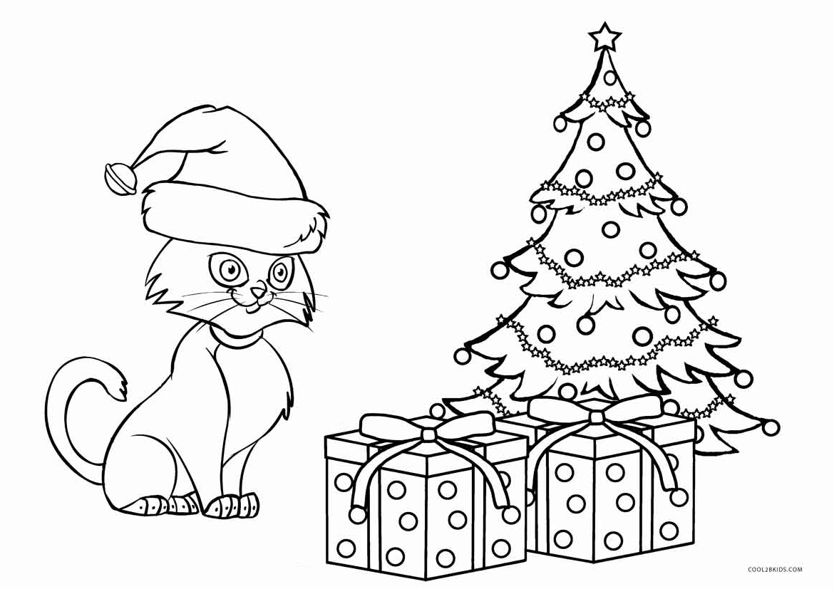 christmas cat coloring pages - photo#1